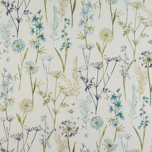 Wild Flower curtain fabric by Porter & Stone in Teal