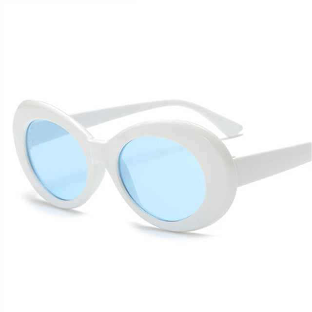 White Sunglasses with Blue Lens - Clout Goggle