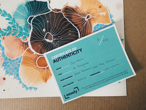 Certificate of authentication to prove the artwork is legitimate