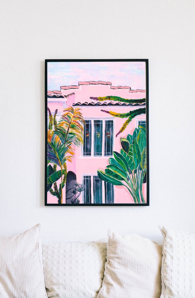 Pink hotel painting by Chloe Rutherford