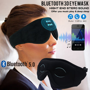 JINSERTA Bluetooth 5.0 3D Wireless Stereo Earphone Phone Headband Sleep Soft Earphones Sleeping Eye Mask Music Headset