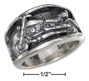 Sterling Silver Mens Motorcycle Band Ring