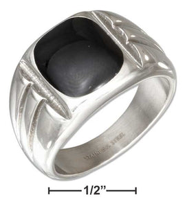 Stainless Steel Mens Simulated Black Onyx Ring