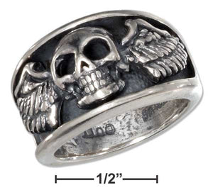 Sterling Silver Mens Skull with Wings Ring
