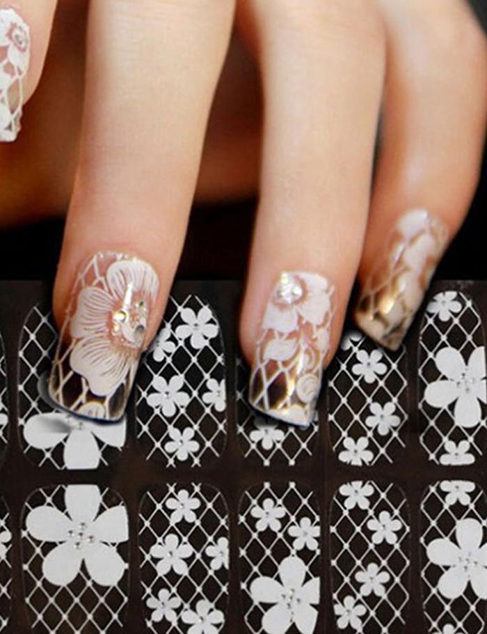 Nail Art Water Transfer Stickers Decals Lace Floral Pattern Nail ...