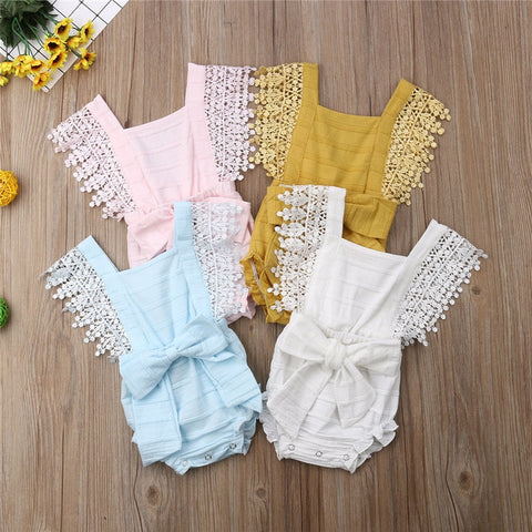 Lace Edged Cotton Summer Romper With Bowknot- 4 colors