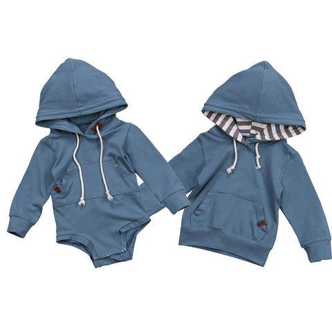Matching Baby Boys Brother Hoodie Sweatshirt & Hooded Romper Jumpsuit
