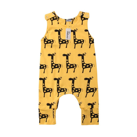 New sleeveless, giraffe patterned baby jumpsuit 3m-18m
