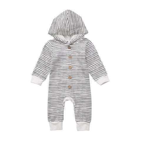 Long Sleeved Baby/Toddler Striped Hooded Jumpsuit 3m-18m