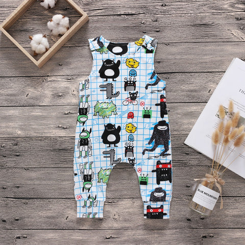 Little Monster Printed Sleeveless Cotton Jumpsuit