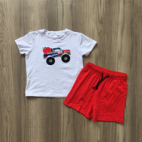 2 pc Apple For Teacher Shorts Set 4t-8