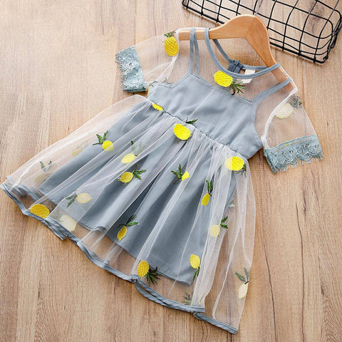 Embroidered Lemon Pineapple Lace Dress- 2 colors 3-7t