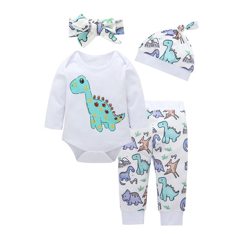 4 Piece Spotted Dino Outfit Set- 3m-2t