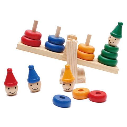 Children's Wooden Clown Rainbow Stacker Seesaw Early Education Toy