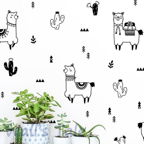 Cute Alpaca and Cactus Wall Decals