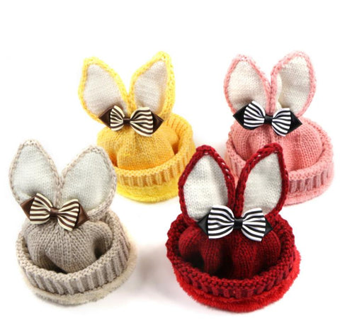 Knit Bunny Beanie Hat With Bow- 6m-4t
