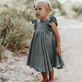 Ruffle Sleeve Twirling Dress- Choose between Green and White- 12m-6