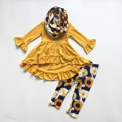 3 pc Sunflower Ruffles Fall Outfit 12m-8