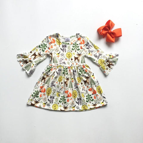 2 pc Autumn Forest Ruffle Sleeve Dress 2t-8