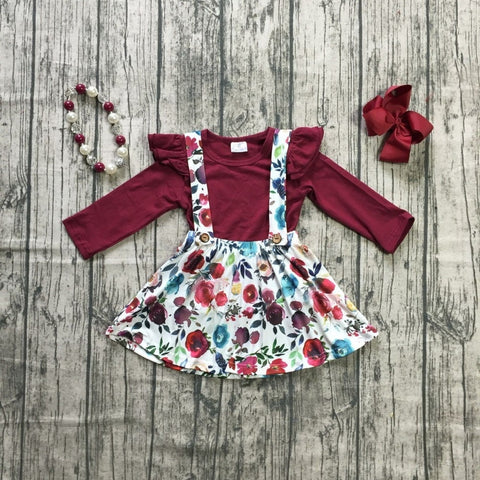 4 pc Fall Floral Suspender Dress Set 12m-7