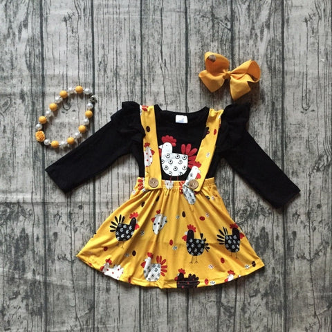 4 pc Yellow Chicken Suspender Dress Set 12m-8