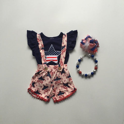 4 pc Independence Day Overall Set- 12m-8