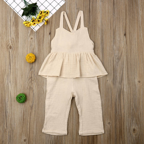 Tie Back Ruffle Overalls- 2 colors 2t-6