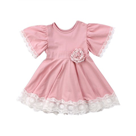 Ruffle Sleeve Blush Pink Twirling Dress- 18m-5t