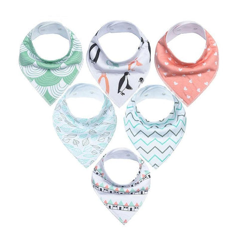 6 Pack of Bandana Baby Bibs