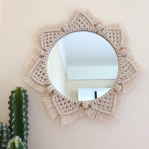 Boho Style Handcrafted Macrame  Wall Decor (with or without mirror)