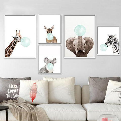 Baby Animal Zebra Girafe Canvas Poster- Nordic Style Kids Canvas Decoration