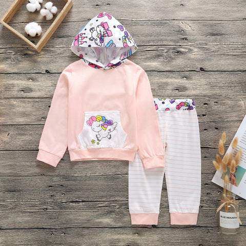 Girls Unicorn 2 Piece Hooded Tracksuit- 3m-18m