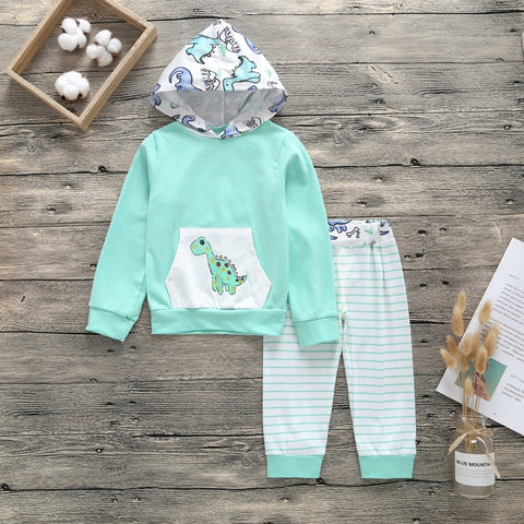 Striped Dinosaur 2 Piece Hooded Tracksuit- 3m-18m