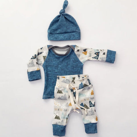 3 Piece Long Sleeved Mountain Adventure Outfit Set- 3m-18m