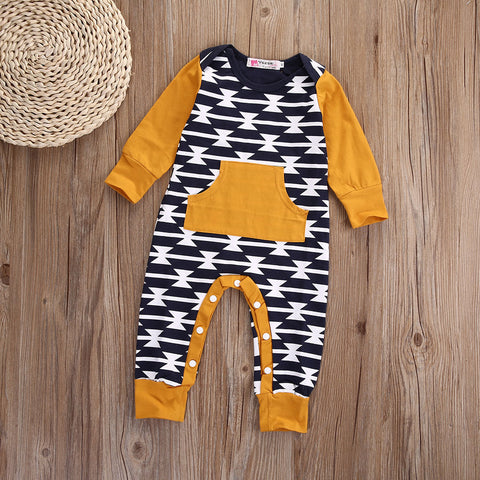 Yellow Trimmed Nordic Style Long Sleeved Romper/Jumpsuit 3m-18m