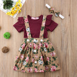 3 Piece Fall Colored Onesie/Skirt with Headband Outfit Set- 3m-18m