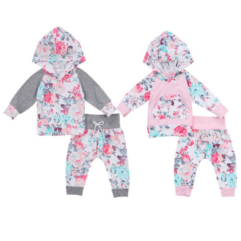 Baby Girl Floral 2 pc Hoodie Outfit Set- 2 Colors