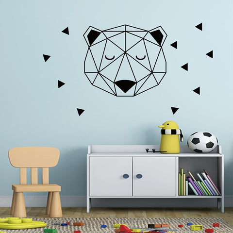 Geometric Bear Head With Triangles vinyl wall decal