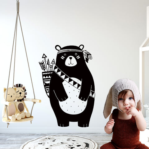 Nordic Style Tribal Woodland Bear Vinyl Wall Sticker- 3 sizes