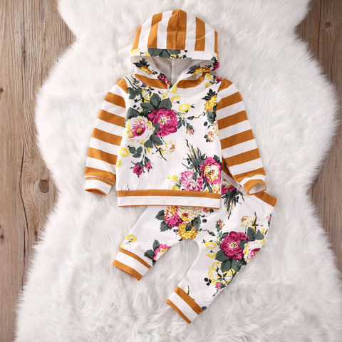 Stripes and Florals 2 pc Hoodie and Pants Set
