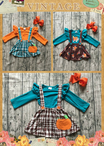 3 pc Fall Suspender Dress Set (3 Designs) 12m-8