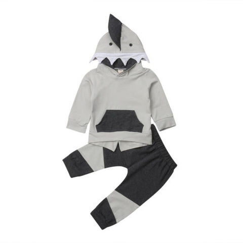 Little Shark Hooded Outfit 2 pc Set 6m-4t