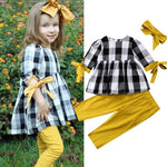 3 Piece Outfit Set Toddler Plaid and Yellow