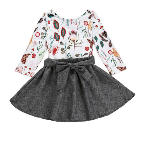 2 Piece Floral and Skirt Outfit Set 12m-6