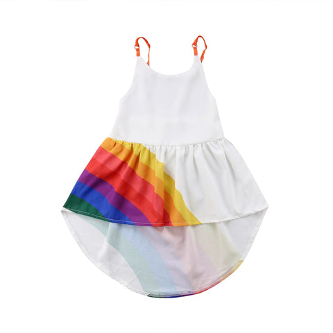 Toddler Silk High/Low Rainbow Dress 1-5t
