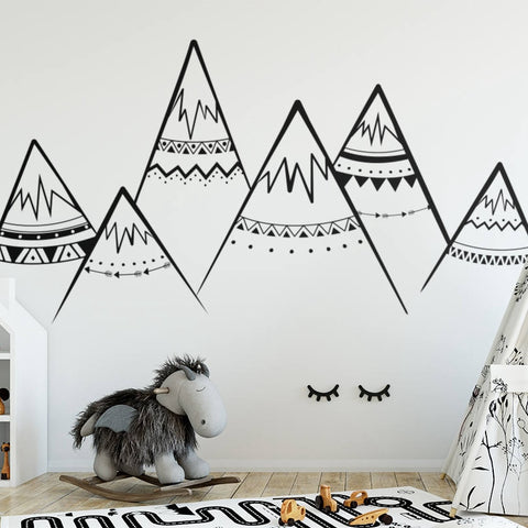 Tribal Mountains Vinyl Wall Stickers Kids Room Decor- 3 different sizes