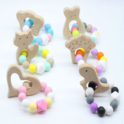 Wooden and Silicon Teething Ring Toy-20 designs available