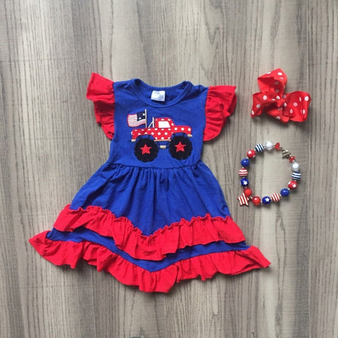 Ruffles and Trucks 4th of July Dress set- 12m-8