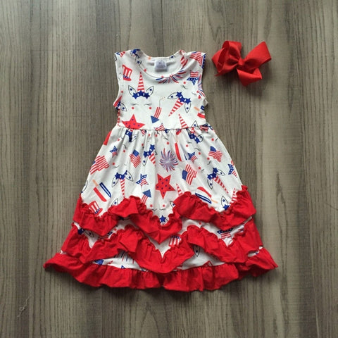 Fireworks and Unicorn Ruffle Dress- 12m-7