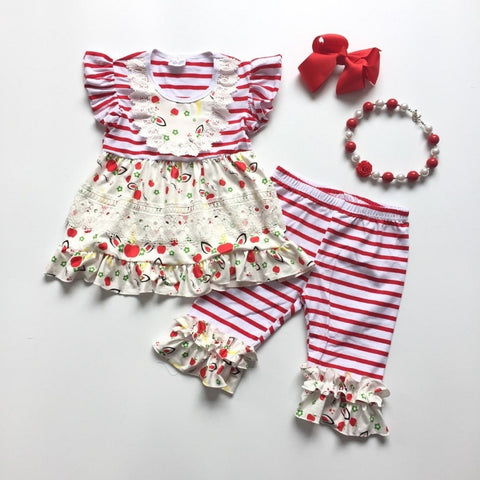 4 pc Apples & Unicorns Outfit 4t-8